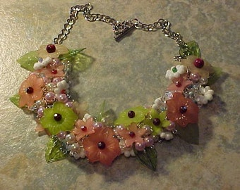 BEAD and FLOWER Necklace~Lucite Flowers and Leaves~Glass Pearls~Pinks and Greens~A Working in my Garden Sort of Day~Perfect Summer Necklace