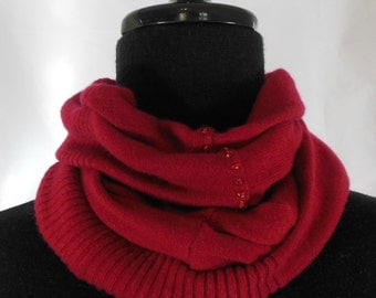 Warm Red Infinity Cashmere Wool Scarf made from an Upcycled Sweater