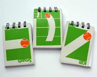 Trio of Vintage Tennis Card Game Notepads