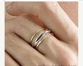 Valentines Day Sale Gold and Silver Twisty Thin Bands Set | Stacking Rings | Handmade Rings