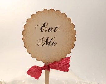 Eat Me Toppers Alice in Wonderland Cupcake Toppers / Food Picks - Red Ribbon