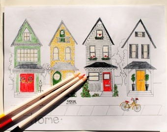Home Sweet Home Row of Houses Adult Coloring Page - Peaceful Solitude Neighborhood