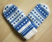 Hand-knit Scandinavian teal and white mittens -- original design