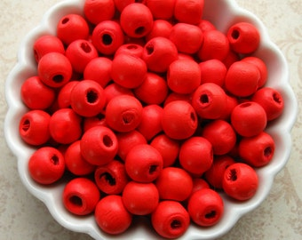 Dark Orange Wooden Beads - Set of 100 - 10mm Glossy Reddish Orange Wood Beads (WBD0096)