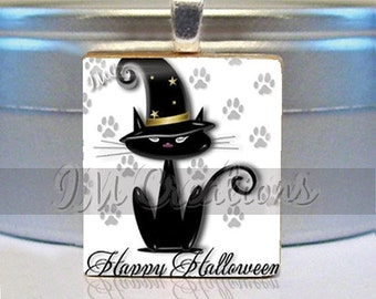 60% OFF CLEARANCE Wizard Black Cat on white Scrabble tile pendant charm jewelry by IMCreations (HAL154)