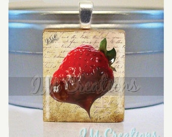 60% OFF CLEARANCE Scrabble tile pendant necklace - Succulent Strawberry (FD112)