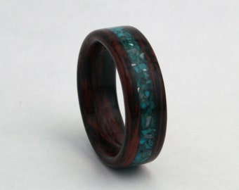 Custom Wooden Wedding Band With Stone Inlay (Using the Wood and Stones of Your Choice - Pictured Honduras Rosewood with Chrysocolla/Pearl)