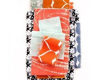 Aqua Orange Umbrella Prints Trimmings Pack