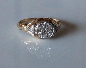 1930 14 KT Gold and Platinum Diamond Pavé Engagement Ring Size 5 1/4