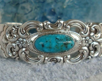 Vintage Turquoise Sterling Silver Towle Grand Duchess Heavy Cuff Bracelet  dmfsparkles