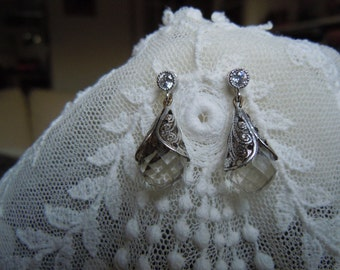 Vintage Facetted Crystals Enveloped in a Silvertone Cone