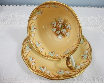 Queen Anne Snowdrop Mint Green and Peach Floral Bone China Teacup and Saucer