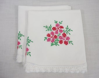 Pillowcase Set of 2 All Cotton Embroidered with Red Pink Cross Stitch Flowers & White Crochet Trim