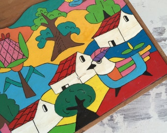 Vintage Folk Art Plaque - Mexican Painted Wood Panel Village