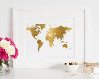 World Map Print, World Map Poster, Digital Art, Map Print, Gold World Map Print, Gold World Map Poster, Map Art Print, Map Nursery Artwork