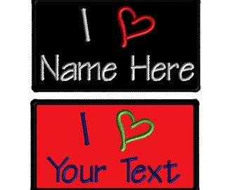 2 (two) Custom Embroidered Name Patches Patch I heart I love Iron on Customized Personalized Tags Tabs Iron on or Velcro Biker motorcycle