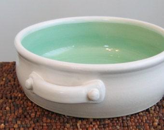 Brie Baker - Pottery Casserole Dish in Mint Green - Ceramic Stoneware Baker