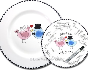 Ready to Ship - Hand Painted Signature Wedding Plate - Love Birds Design