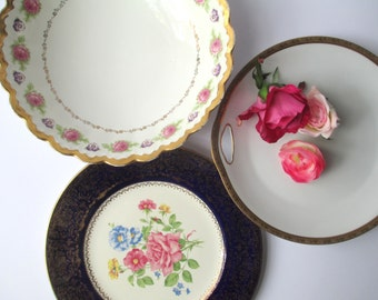 Vintage Mismatched China Serving Pieces Bowl Plates Platter Set of Three