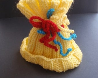 Yellow baby hat, hand knitted baby hat, yellow hat with ties, baby gift, new baby, winter, baby shower, unusual, infant, toddler, warm