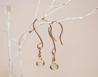 Earrings, Faceted Teardrop Green Amethyst Gemstone Earrings, 14ktgf, Kidney Wire Dangle Earrings