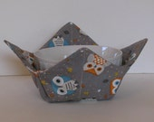 Microwave Fabric Bowl, Owls on Gray, Fabric Food Warming Bowl, Ice Cream Bowl, Hostess Gift, Kitchen Gift, Bridal Gift