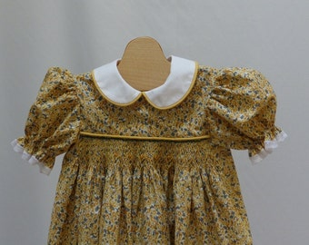 Yellow Floral Flowers  Hand Smocked Dress 3 years  Ready to Ship