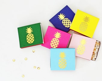 Gold Foil Matches - Pineapple - Foil Stamped - 6 Colors - Gold - Set of 3 - Hostess Gift - PartyFavor -