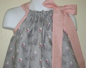 Pink and Grey Song Bird Pillowcase dress in sizes 6M to  7Y