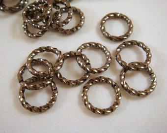 50 Gunmetal Jump Rings 8mm Twisted Fancy Brass Open 16 gauge 8mm Outside - 50 pc - 5250