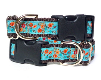 GreytEscape's Teal and orange BLOOM Dog Tag Collar, buckle dog collar, house dog collar