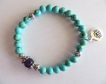Turquoise Energy Bracelet With Amethyst-Gemstone Bracelet