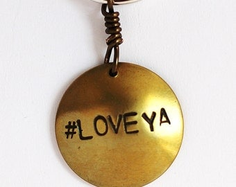 Brass Charm Keychain Hand Stamped LOVE YA Key Ring by Hendywood