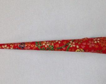 Large Hair Clip - Japanese Fabric Covered, Japanese Accessory, Flower, Brown, Red, Green, Kawaii, Kimono Beak Clip, Alligator Clip, Handmade