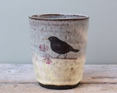 Tall Black Ceramic Cup with Grey Yellow Glaze and Blackbird