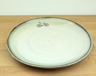 Blue and Cream Ceramic Bicycle Side Plate