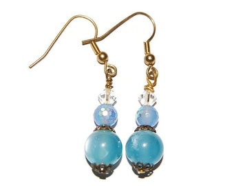 Moon-glow Blue with Crystal Bead Gold Beaded Earring
