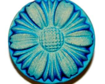 Teal Daisy on Royal Blue Czech Glass Button- 28mm