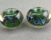 Whirled Peas Beads – Encased  Zig-Zag - Silver Pine with Blue Passion Stringer