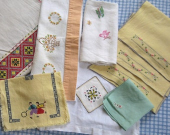 lot of embroidered linens . vintage linens . embroidered linens . DESTASH embroidered linens . lot of 9 . embroidered lot
