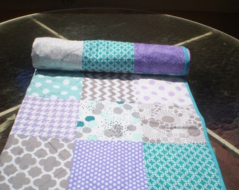 Baby quilt,Teal,grey,purple,lavender,aqua,Patchwork Crib quilt, unisex,baby girl bedding,baby boy quilt,chevron,dots,toddler,Purple Passion