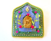 May You Be an Instrument of Divine Love-Golden Tara Heart of Onenes  Altar mosaic shrine home decor wall art