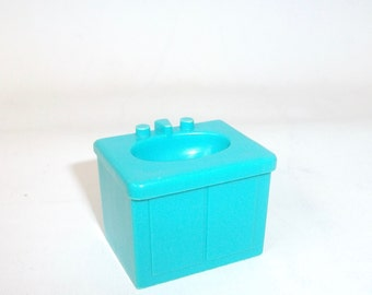 Vintage Fisher Price Turquoise Blue Sink Little People Toy