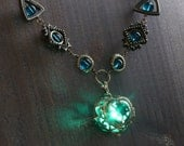 Neo Victorian Jewelry - Necklace - Teal Heart locket with glowing orb Antique Bronze