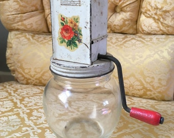 Vintage Nut Grinder with Meyercord Rose Floral Decal