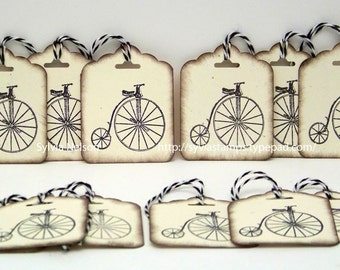 Old Fashioned Tricycle Tags..set of 12 Tags...Antique distressed hang tags...gift tags...Christmas gift tags...Birthday tags...hand stamped!