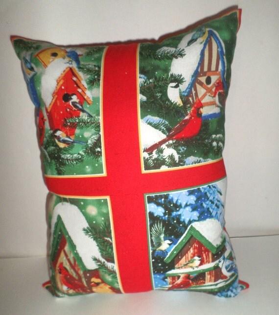 Cardinal Bird Throw Pillows : Cardinal Pillow Blue Jay Pillow Bird Throw by CarriesCraftStore