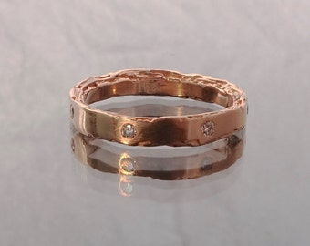 14kt Rose Gold Rough Edge Band 3mm width with 7 diamonds