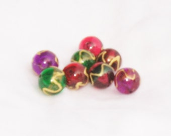 beads, glass, red, purple, green, painted, multicolor, F, destash