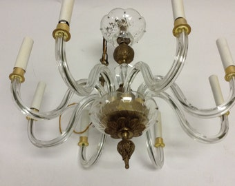 50's Vintage Crystal Glass Brass 8 Light Chandelier